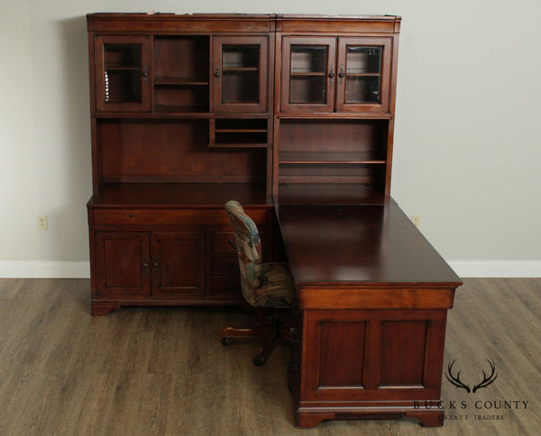 Quality Cherry L Shape Corner Desk, Bookcase Hutch Top