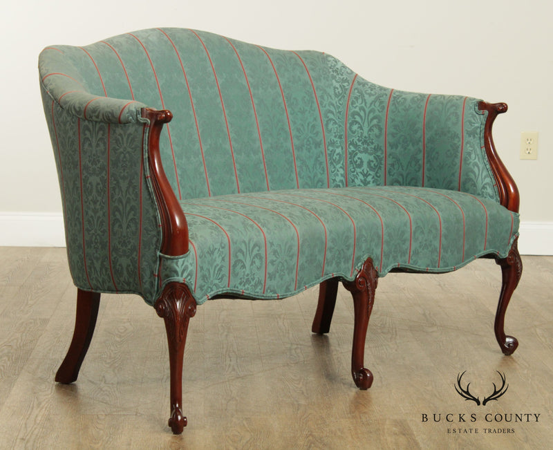 French Louis XV Style Solid Mahogany Frame Loveseat