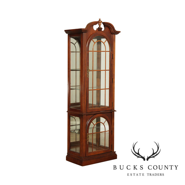 Traditional Cherry Tall Narrow Curio Display Cabinet