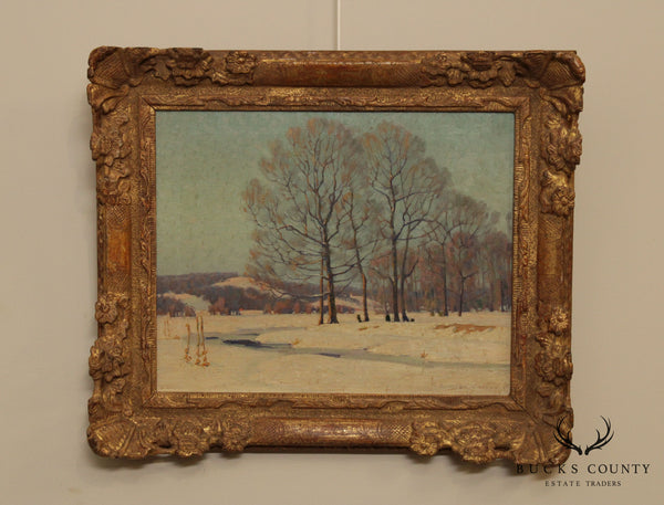Samuel B. Wylie Winter Landscape Framed Oil Painting on Canvas