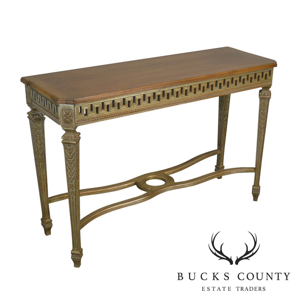 French Louis XIV Style Custom Painted Base Walnut Top Console Table