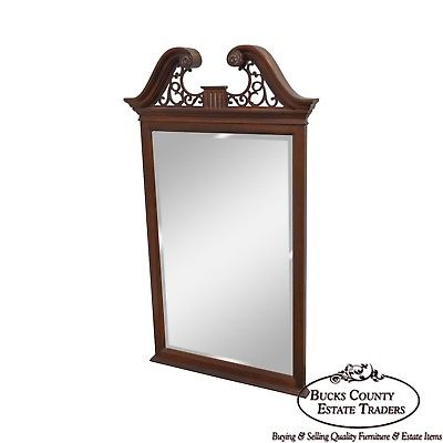Ethan Allen 18th Century Collection Mahogany Chippendale Style Wall Mirror