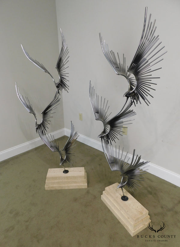 "Curtis Jere ""Birds in Flight"" Pair Large Metal Sculptures on Travertine Bases"
