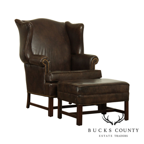 Ethan Allen Chippendale Style Brown Leather Wing Chair w/ Ottoman