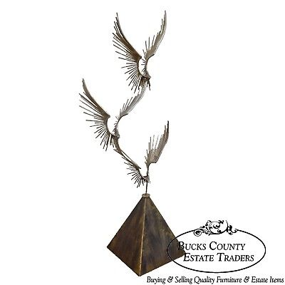 Curtis Jere Large Chromed Metal Birds in Flight Sculpture (B)