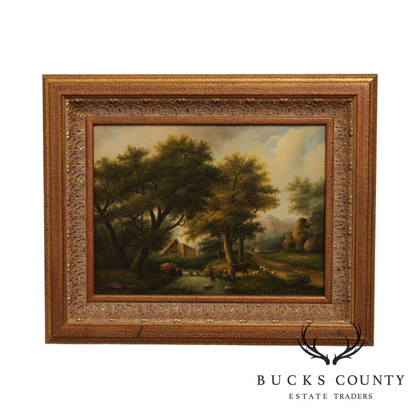 T. Williams Oil Painting on Canvas Landscape with Sheep & Cows