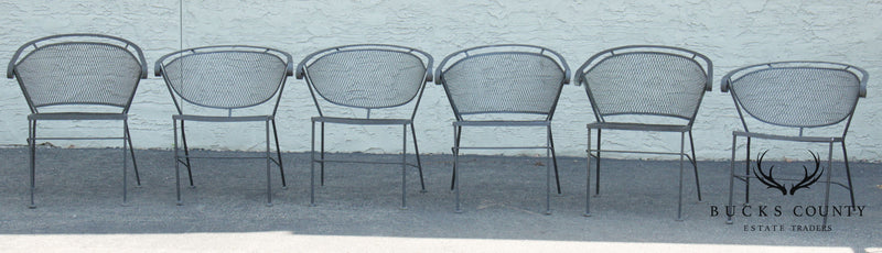 Vintage Wrought Iron Assembled Set 6 Curved Back Patio Dining Chairs
