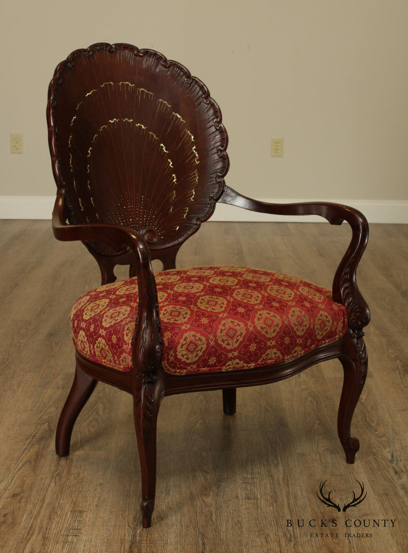 French Rococo Style Antique Mahogany Mother of Pearl Inlaid Clam Shell Carved Armchair