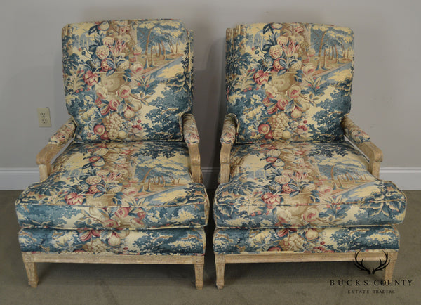 Louis XVI Style Custom Painted Lounge Chairs by Richard Charles