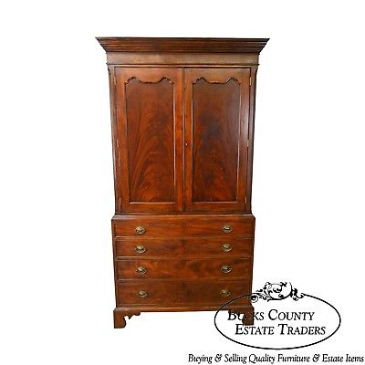 Banks Coldstone by Sarreid George III Linen Press Style TV Armoire Cabinet