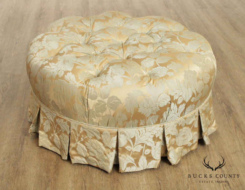 Custom Upholstered 37 inch Round Tufted Ottoman