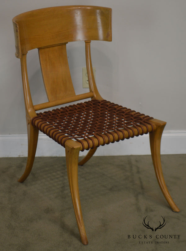 T. H. Robsjohn Gibbings Saridis of Athens Walnut & Leather Klismos Chair
