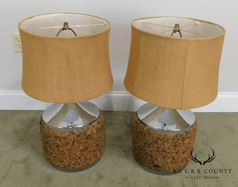 Mid Century Modern Chrome & Cork Pair Table Lamps