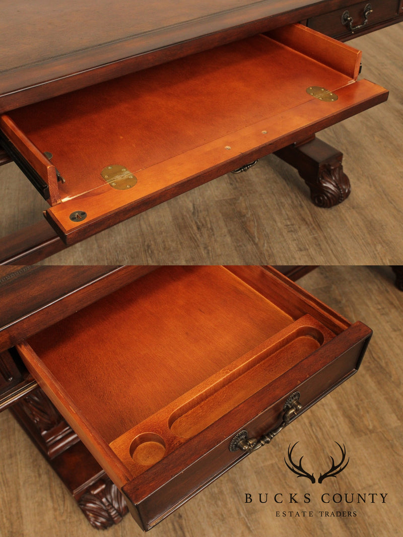 Empire Style Lyre Side Trestle Base Leather Top Writing Desk