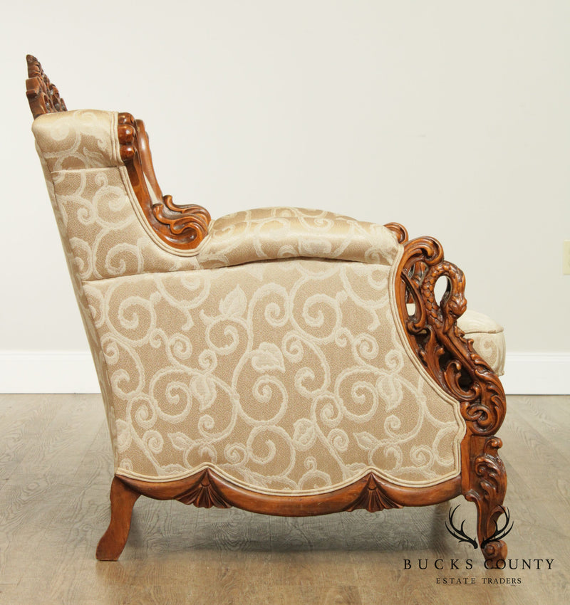 Antique Renaissance Revival Elaborately Carved, Custom Upholstered Bergere Chair (B)