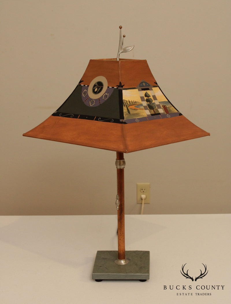 Janna Ugone Copper, Slate Base Table Lamp with Shade