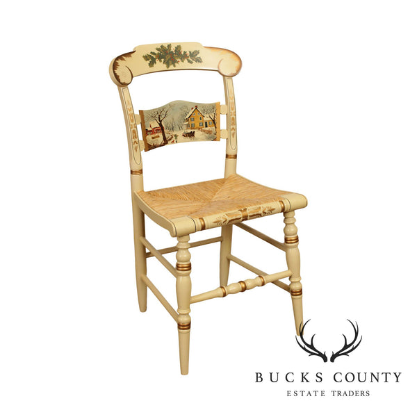 Hitchcock 'American Homestead Winter' Christmas 1995 Rush Seat Side Chair