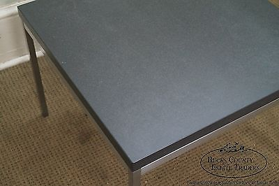 Mid Century Modern Square Chrome Slate Top Side Table