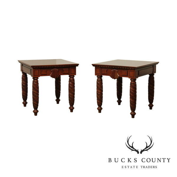 Harden British Colonial Style Pair Cherry Side Tables