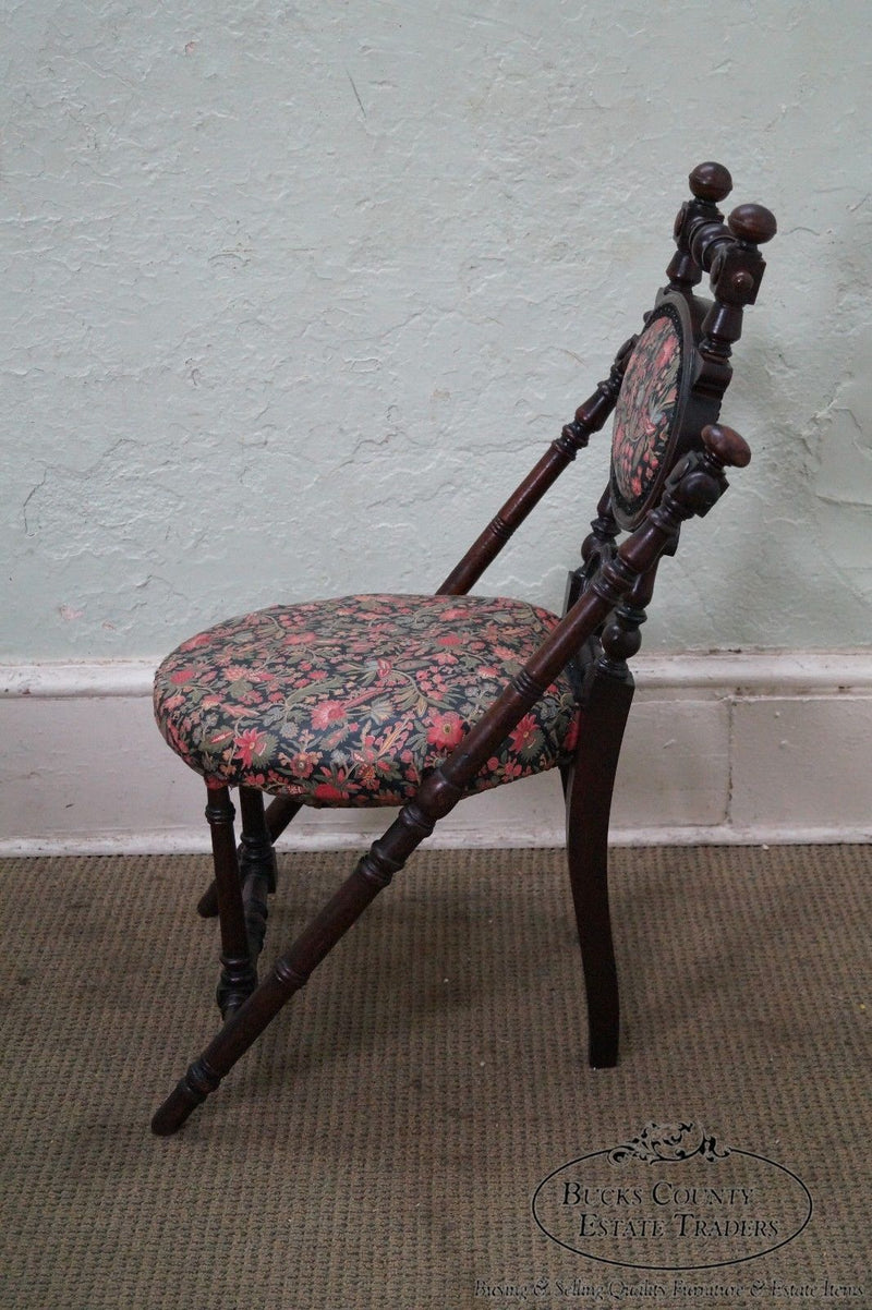 Antique Walnut Victorian Side Chair by Hunzinger