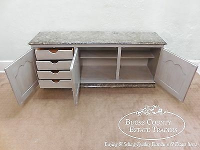 Custom Painted French Style Buffet Cabinet Sideboard w/ Faux Marble