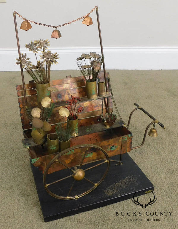 Curtis Jere Mid Century Modern Copper Flower Cart Sculpture (B)
