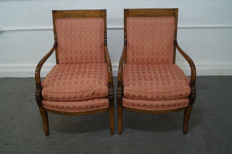 Quality Pair of Neo Classical Style Arm Chairs w/ Dolphins
