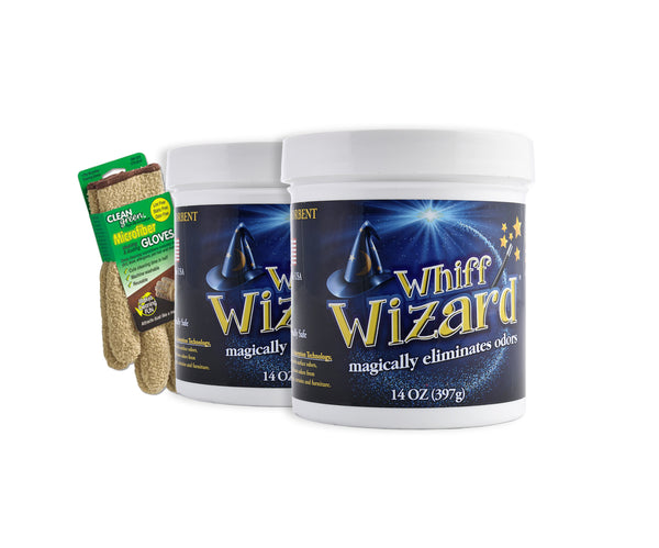 Whiff Wizard Odor Neutralizer with Activated Charcoal - Twin Pack 14oz