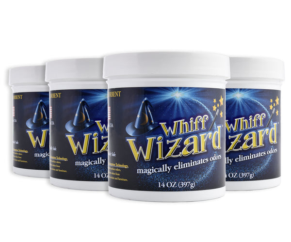 Whiff Wizard Odor Neutralizer with Activated Charcoal - Four Pack 14oz