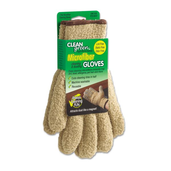 CleanGreen Microfiber Cleaning and Dusting Gloves, Pair