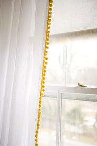 Pom Pom Curtain Panel-Yellow