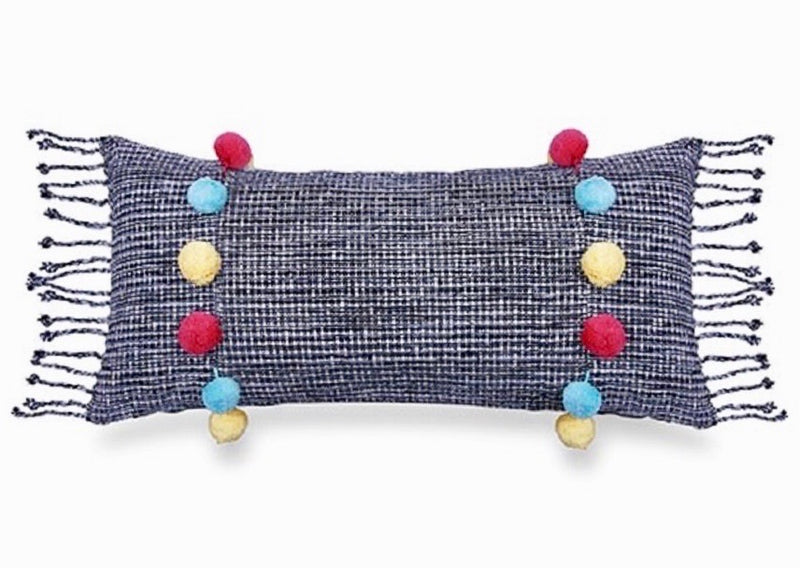 Nomad Coloured Pom Pom Lumbar Cushion