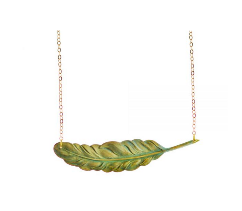 Verdigris Feather Necklace