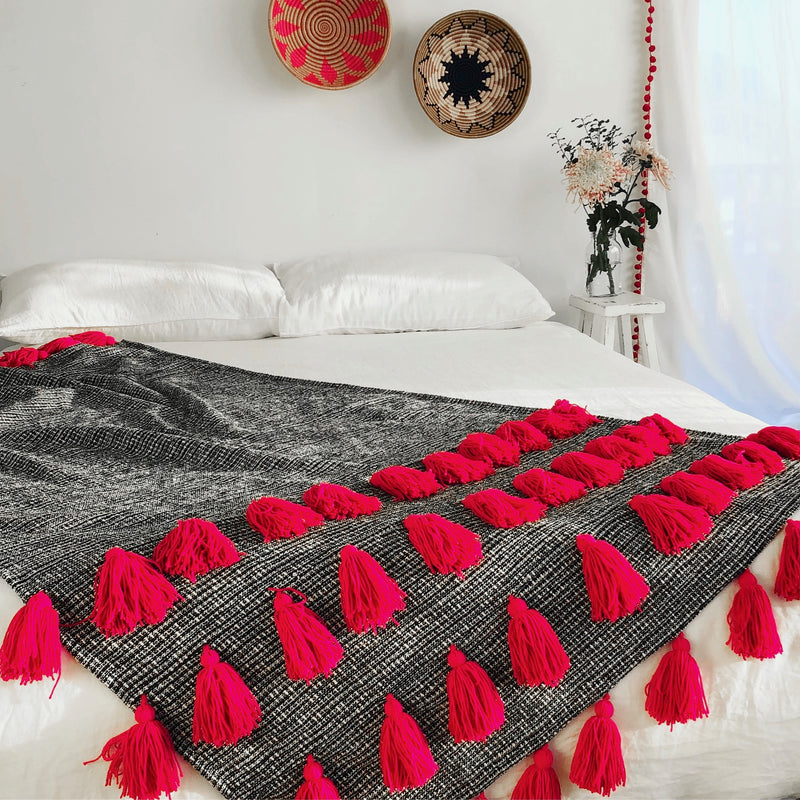 Layered Tassel Throw