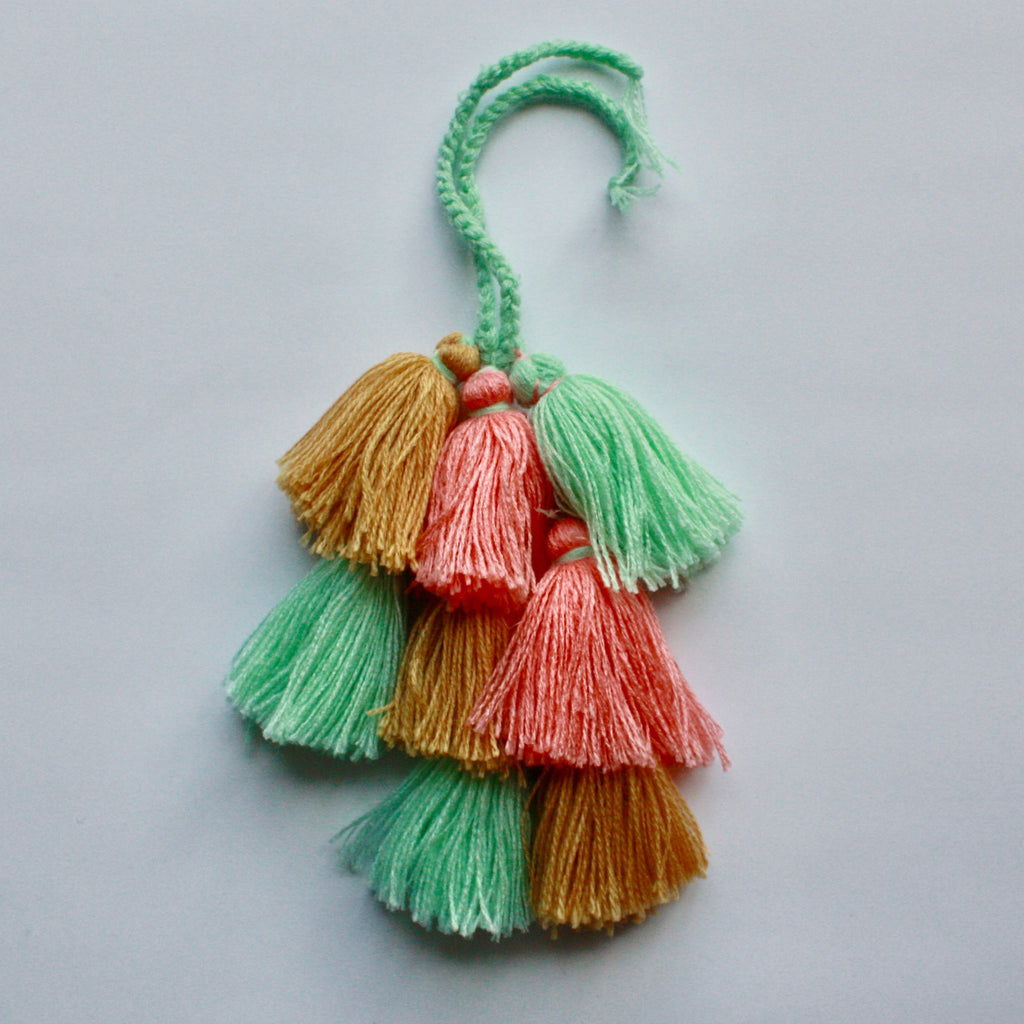 Moroccan Cotton Tassels-Peach, Gold & Aqua