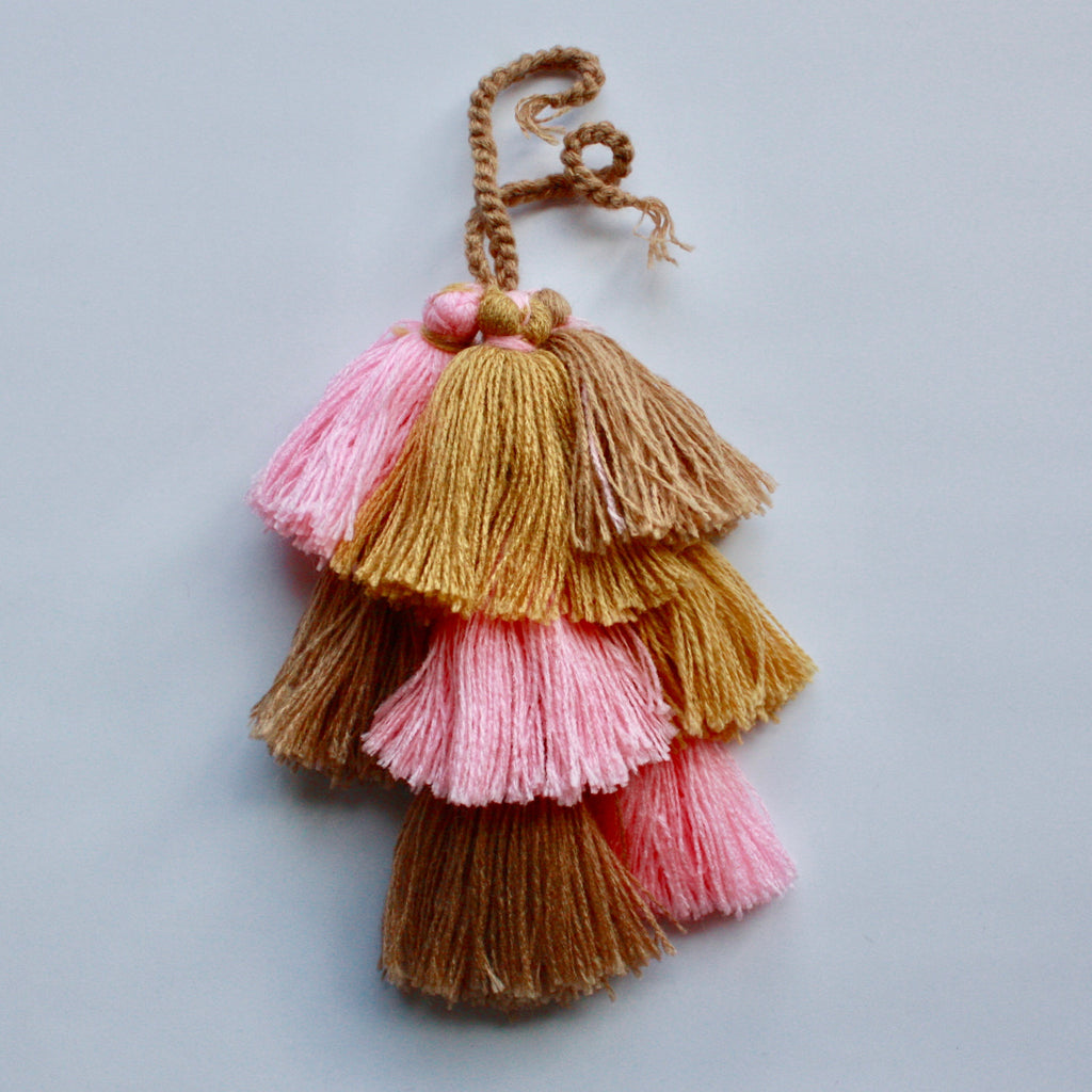 Moroccan Cotton Tassels-Pink, Gold & Bronze