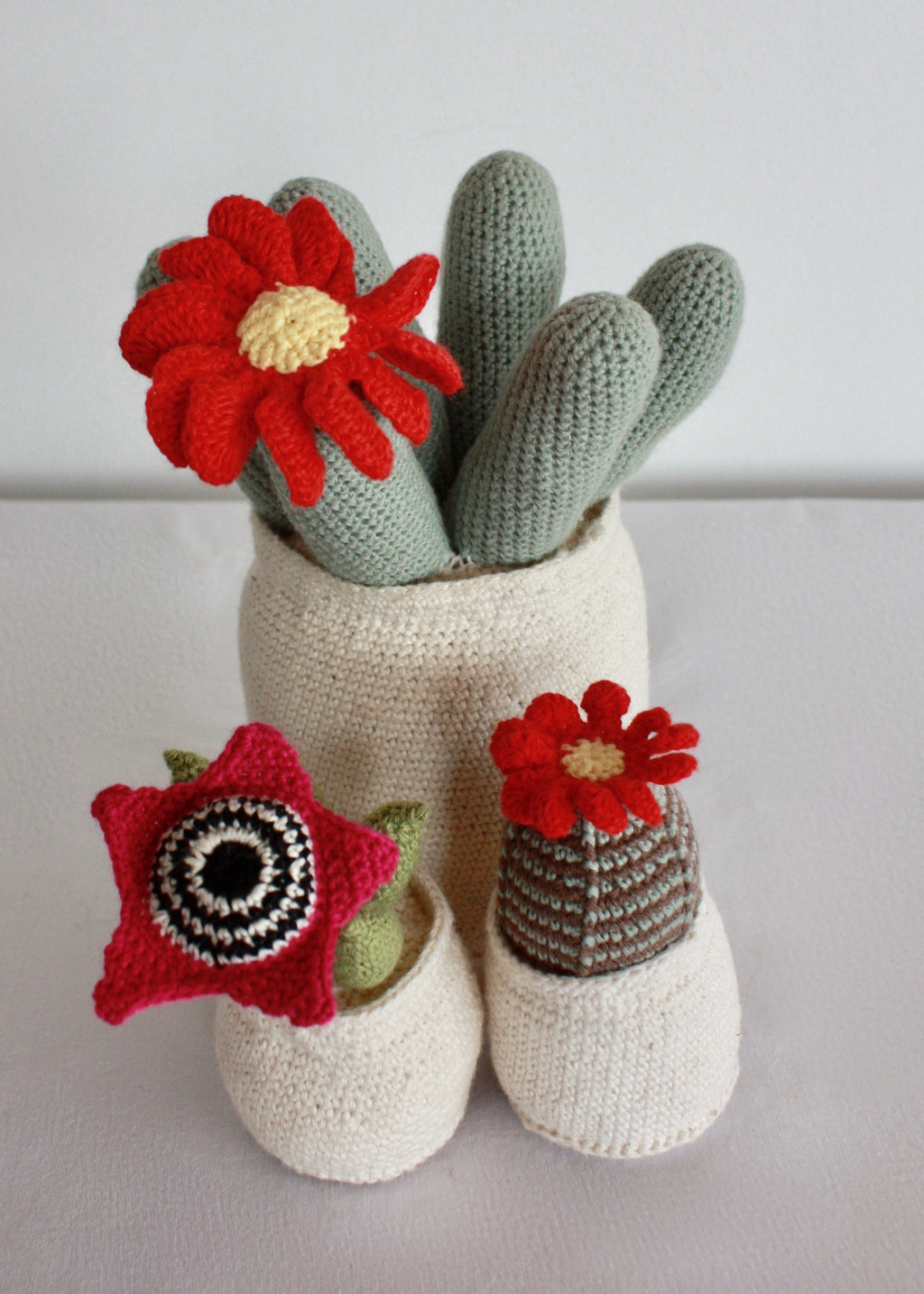 Flowering Crochet Cactus-Barrel Cactus with Red Daisy