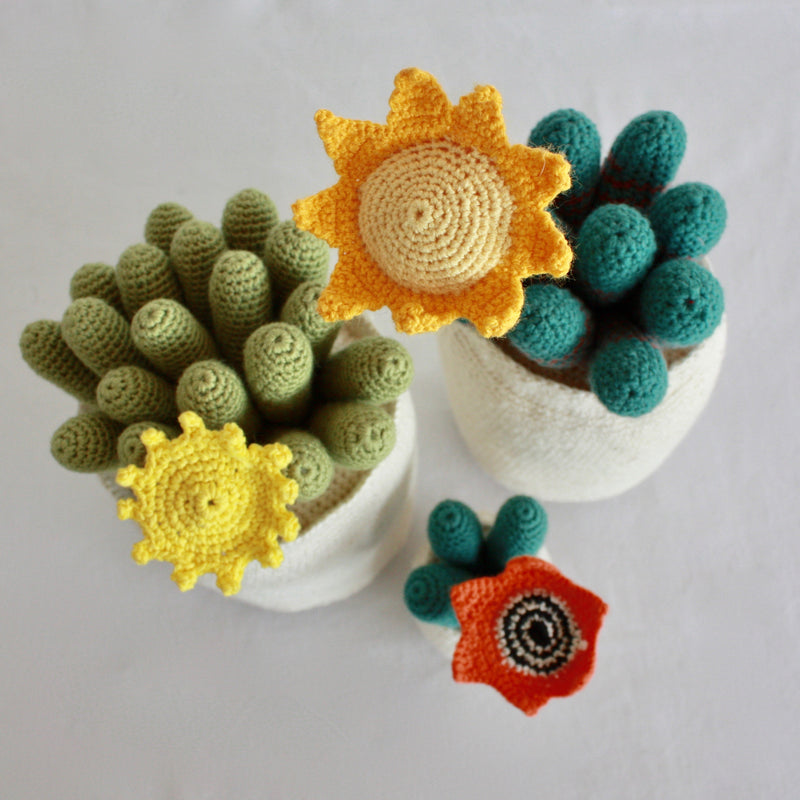 Flowering Crochet Cactus-Flat Yellow Flower