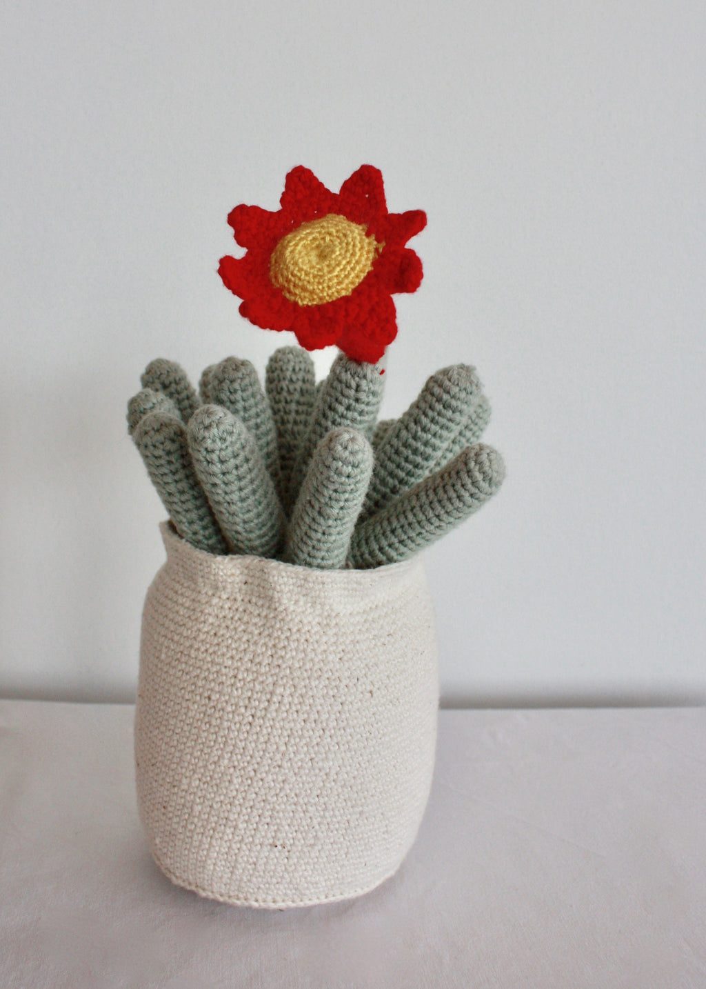 Flowering Crochet Cactus-Red Trumpet Flower