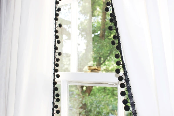 Pom Pom Curtain Panel-Black