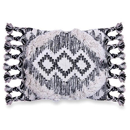 Shaggy Black & White Tassel Cushion