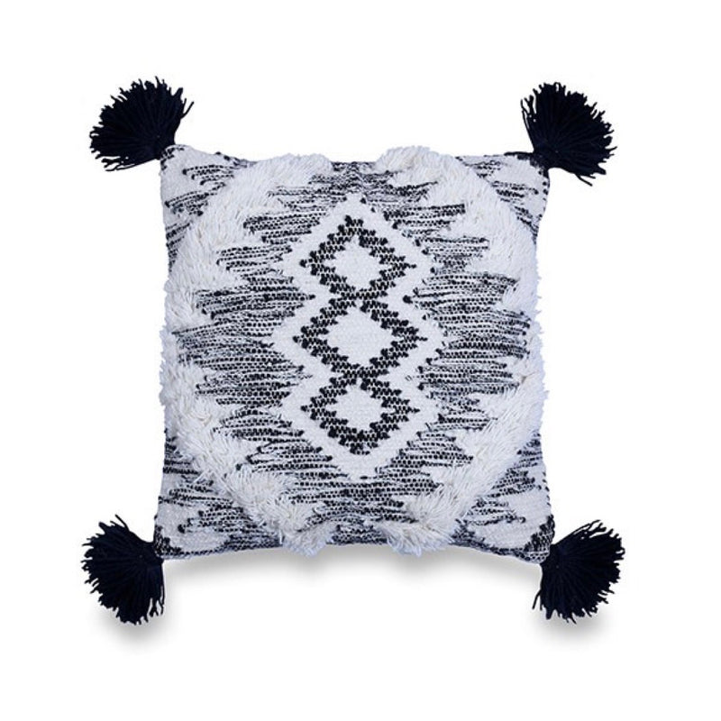 Shaggy Black & White Cushion