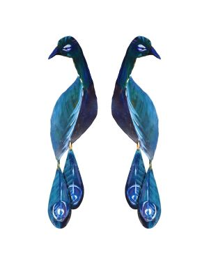 Handpainted Peacock Earrings