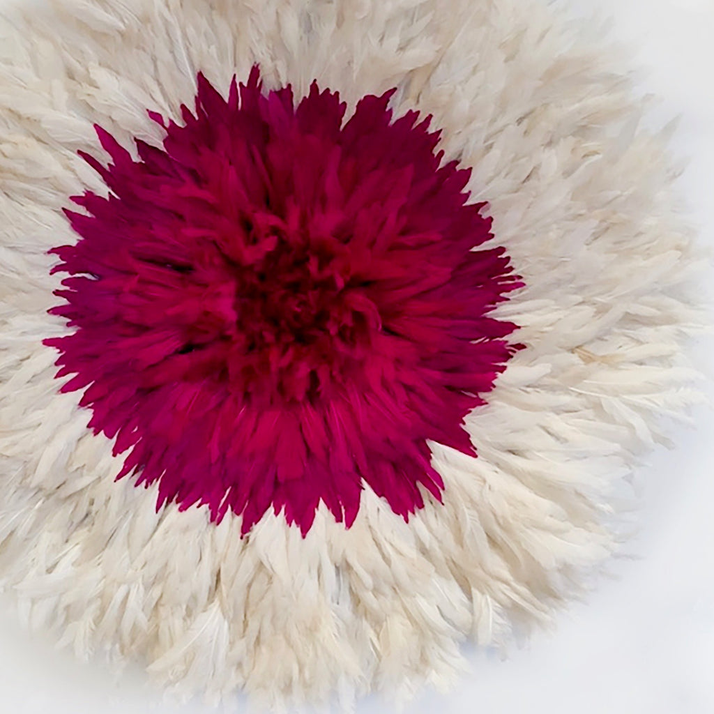 Cameroon Juju Hat-Pink & White 80cm