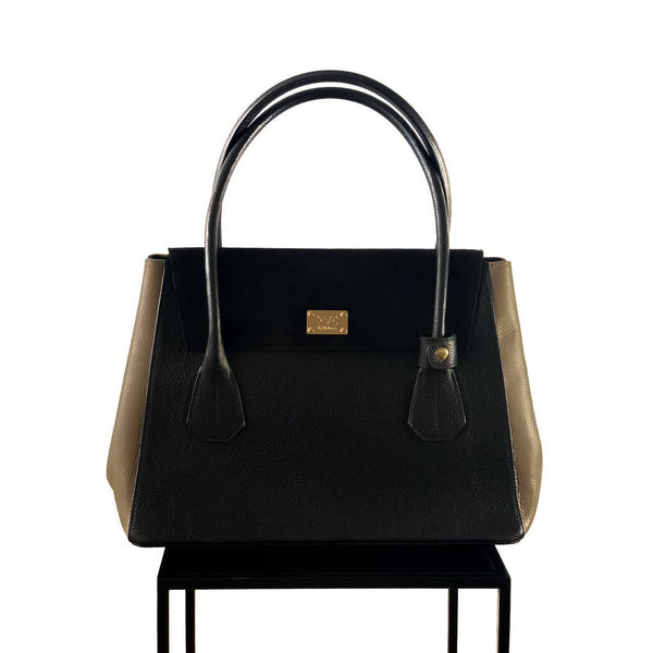 VALENTINA Black with Taupe satchel