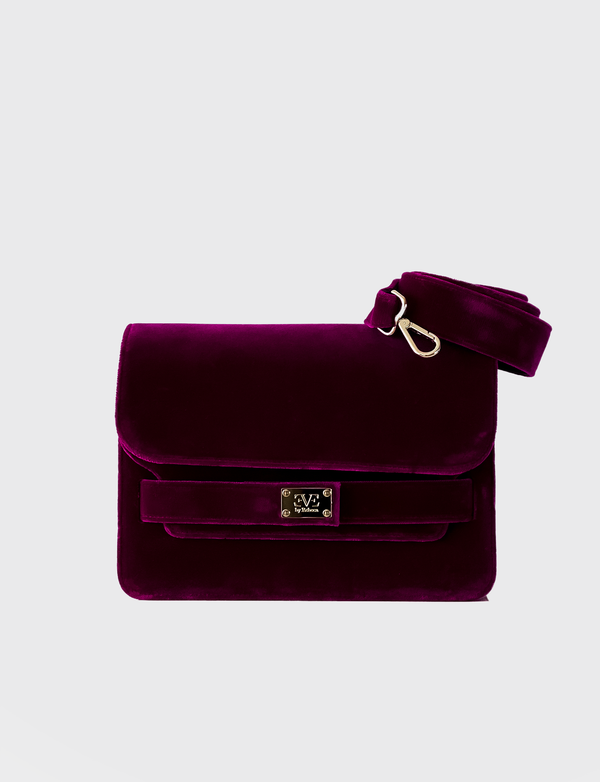 EVE THE LABEL purple velvet shoulderbag