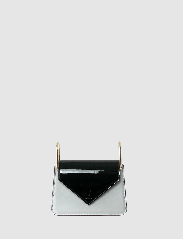 Kaya Black patent leather front flap
