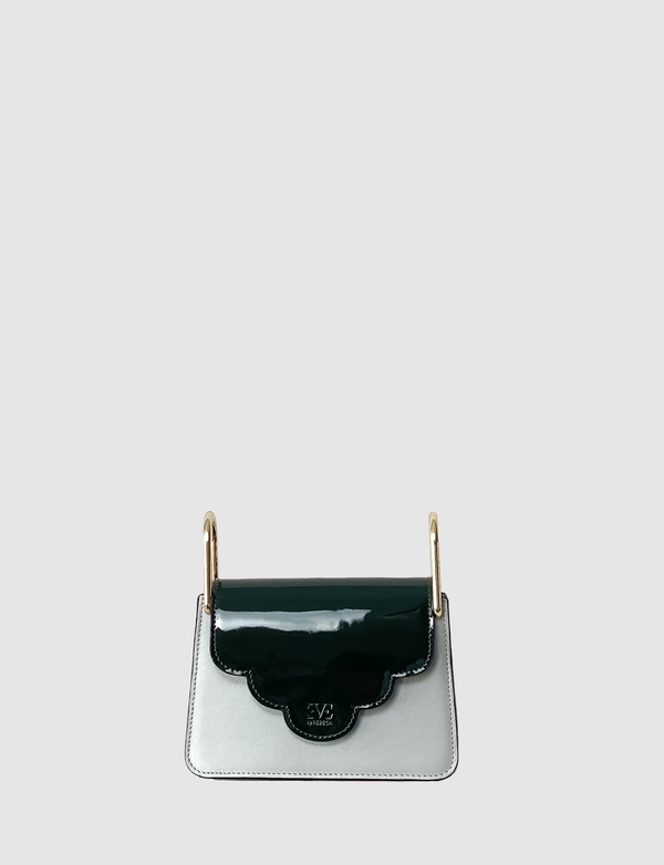 Kaya Green patent leather front flap