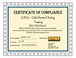 C.P.S.C - Child protocol testing certificate of compliance for CR Lid - 4 oz Black Glass Jar