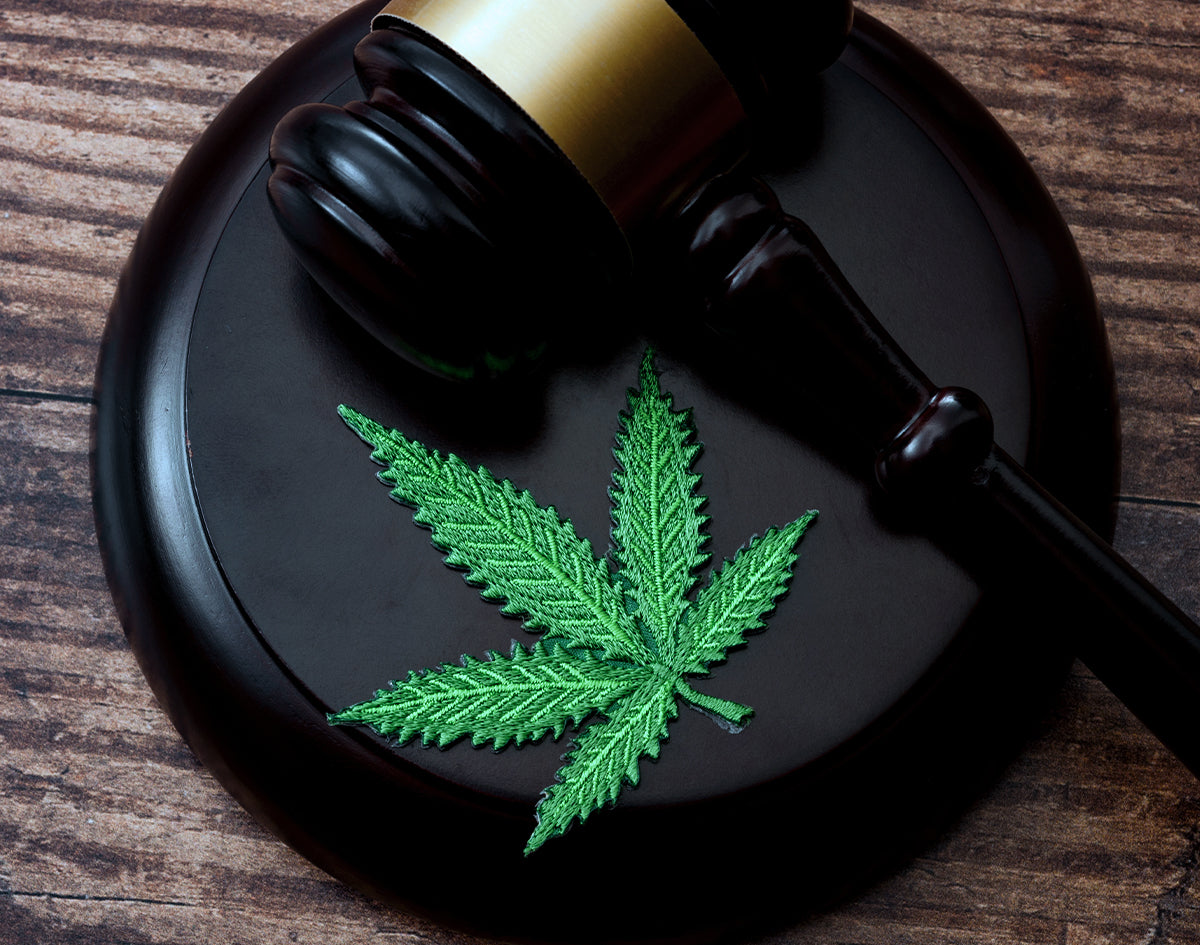 Gavel And Cannabis Patch On Wooden Surface | Marijuana Packaging
